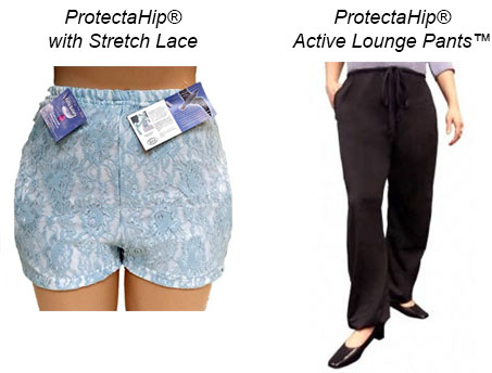 Plum's® ProtectaHip® Undergarment with Stretch Lace & ProtectaHip® Active Lounge Pants™ Hip Protectors