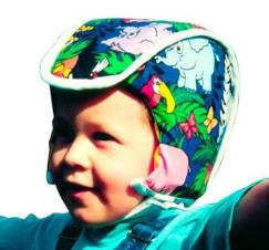 Plum's® ProtectaCap® Custom-Fitting Protective Headgear for Kids in Kids Print Pattern